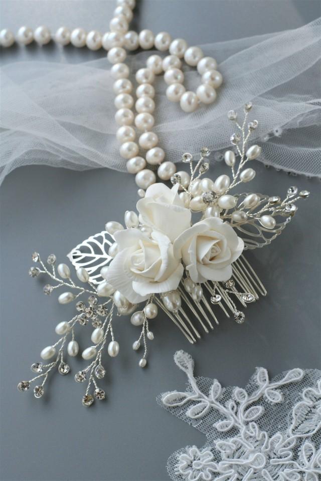 wedding photo - Rose comb, Bridal hair comb, Wedding hair comb, Bridal hair flower, Bridal headpiece, Wedding headpiece, rose hair, Bridal comb, Pearl comb - $69.00 USD