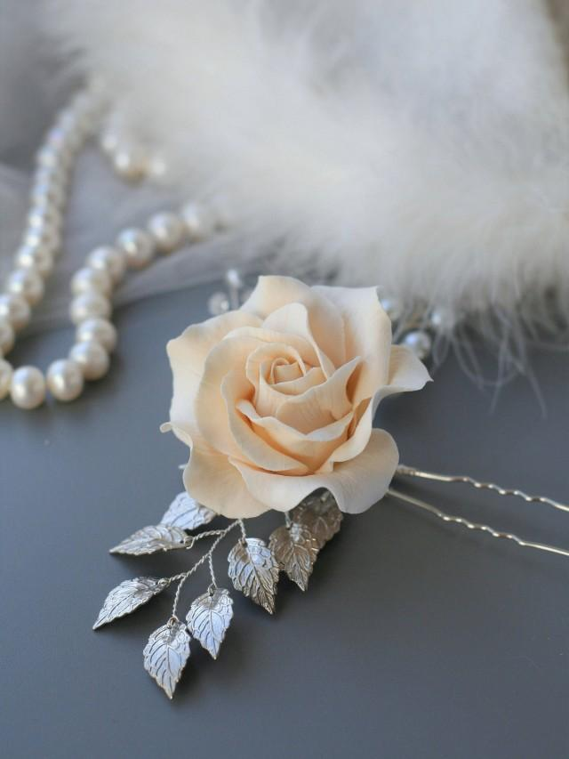 wedding photo - Ivory Rose Wedding Hair pin Rose Bridal Hair pin Wedding flower pin Bridal hair flower Bridal flower clip Bridal hair accessories silver - $35.00 USD