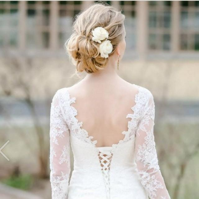 wedding photo - Ivory Rose Bridal hair flower Ivory Wedding hair flower Bridal hair clip Rose clip Bridal flower hair Bridal hair accessories - $25.00 USD