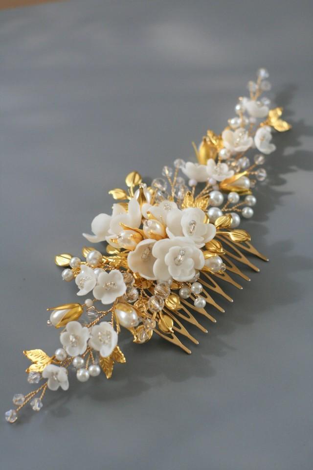wedding photo - Gold leaf Wedding hair comb Bridal hair comb Bridal hair accessories Gold Wedding hair accessories Gold Bridal headpiece Gold comb - $89.00 USD