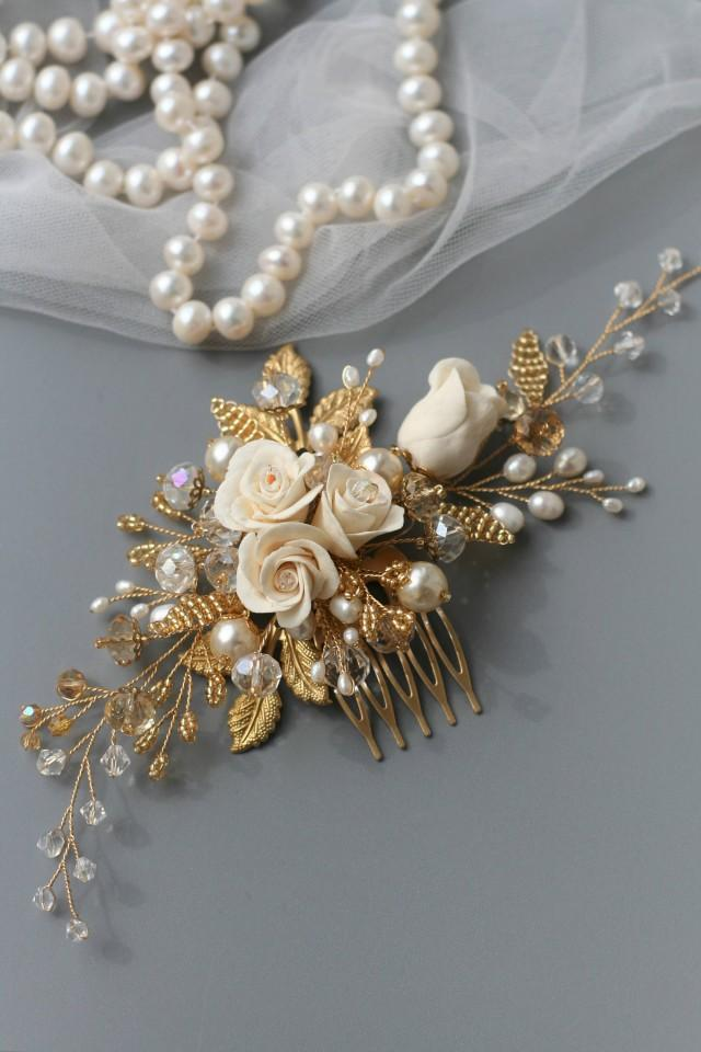 wedding photo - Rose Comb, Rose Wedding hair comb, Bridal hair comb, Bridal hair accessories, Bridal comb, Pearl headpiece, Wedding hair accessories - $75.00 USD