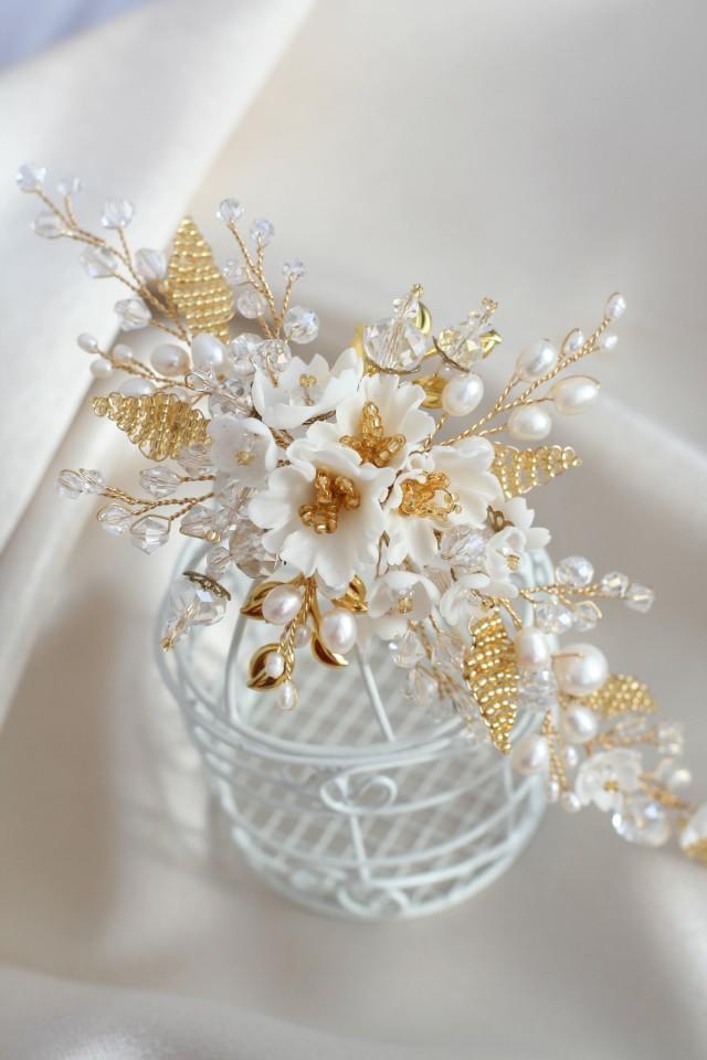 wedding photo - Gold Bridal headpiece Flower Wedding hair comb Flower Bridal hair comb Wedding hair accessories Bridal flower comb, Bridal hair accessories - $85.00 USD
