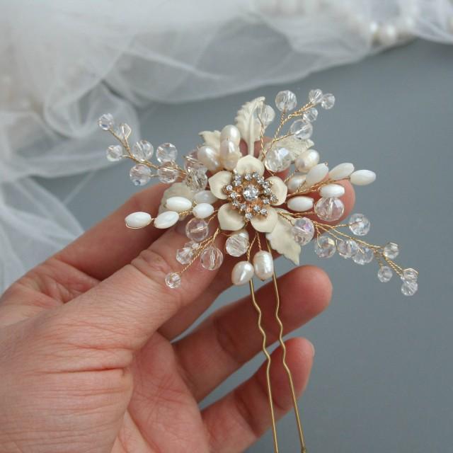 wedding photo - Wedding hair pin, Bridal hair pin, Flower hair pin, Bridal hair accessory, Bridal flower pins, Wedding flower pin, Wedding hair accessories - $35.00 USD