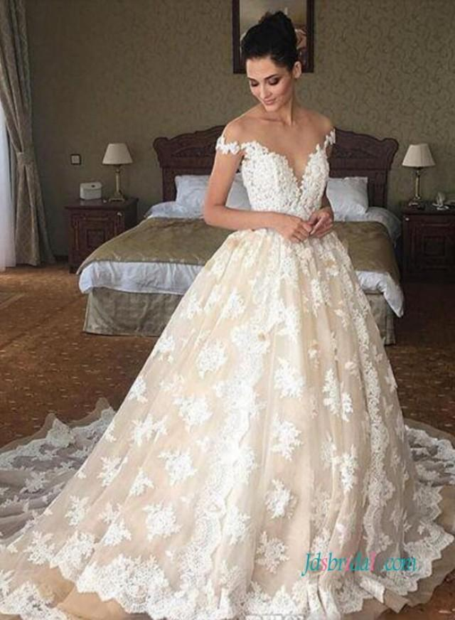 wedding photo - Sexy Sheer top plunging lace princess wedding dress