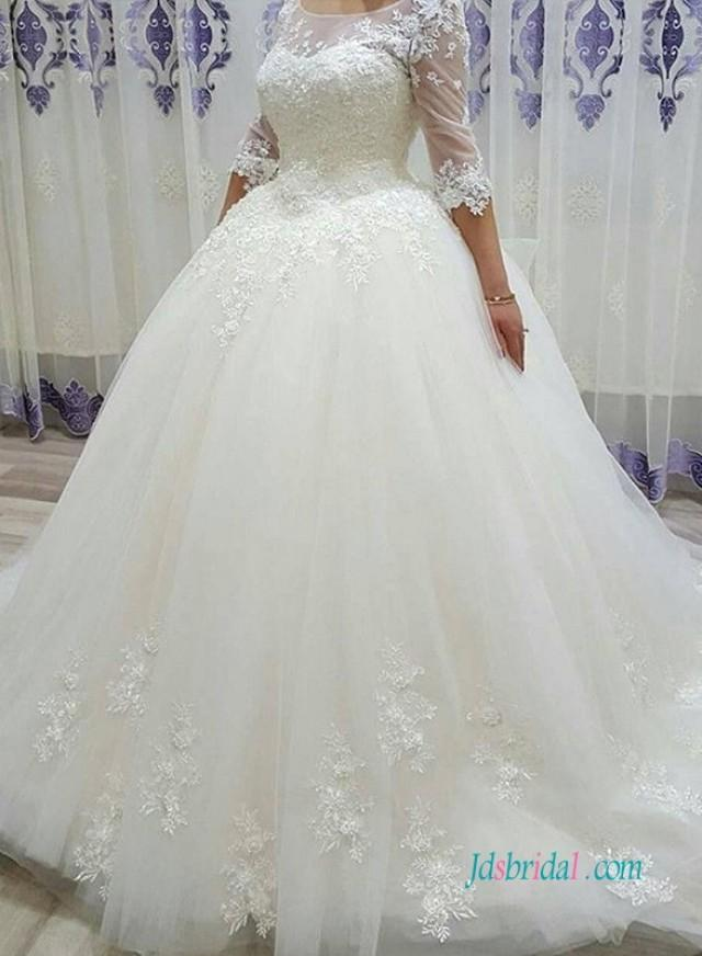 wedding photo - H1008 Modest half length sleeves princess wedding ball gown dress