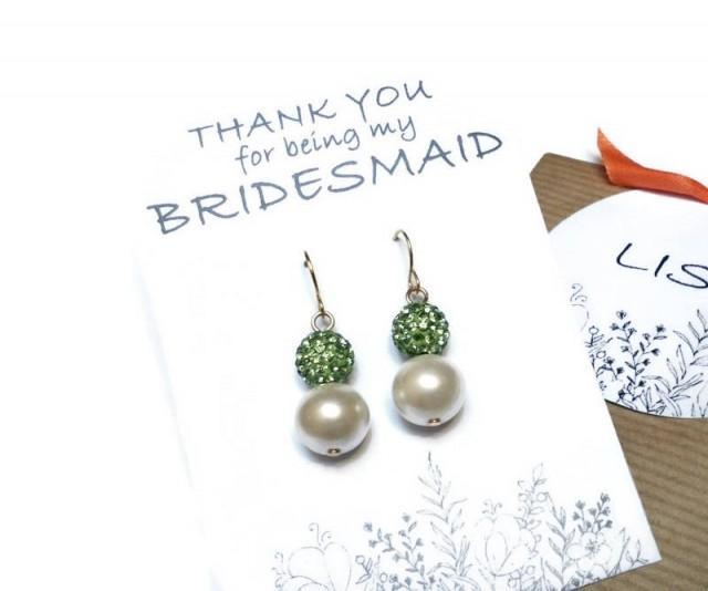 wedding photo - Pearl bridesmaid earrings. Crystal and pearl earrings. Wedding earrings. Bridal earrings. Bridesmaid gifts. Bridesmaid jewelry. Gift for her - $6.90 EUR