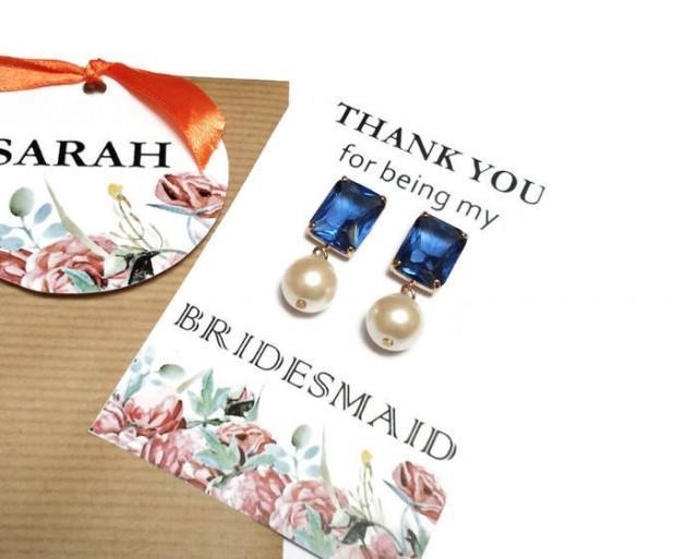wedding photo - Pearl bridesmaid earrings. Blue and pearl earrings. Wedding earrings. Bridal earrings. Bridesmaid gifts. Bridesmaid jewelry. Gift for her. - $8.65 EUR