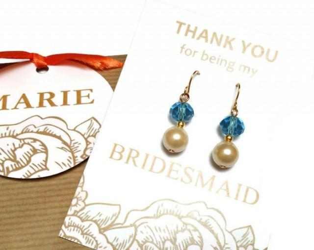wedding photo - Pearl bridesmaid earrings. Crystal and pearl earrings. Wedding earrings. Bridal earrings. Bridesmaid gifts. Bridesmaid jewelry. Gift for her - $6.70 EUR