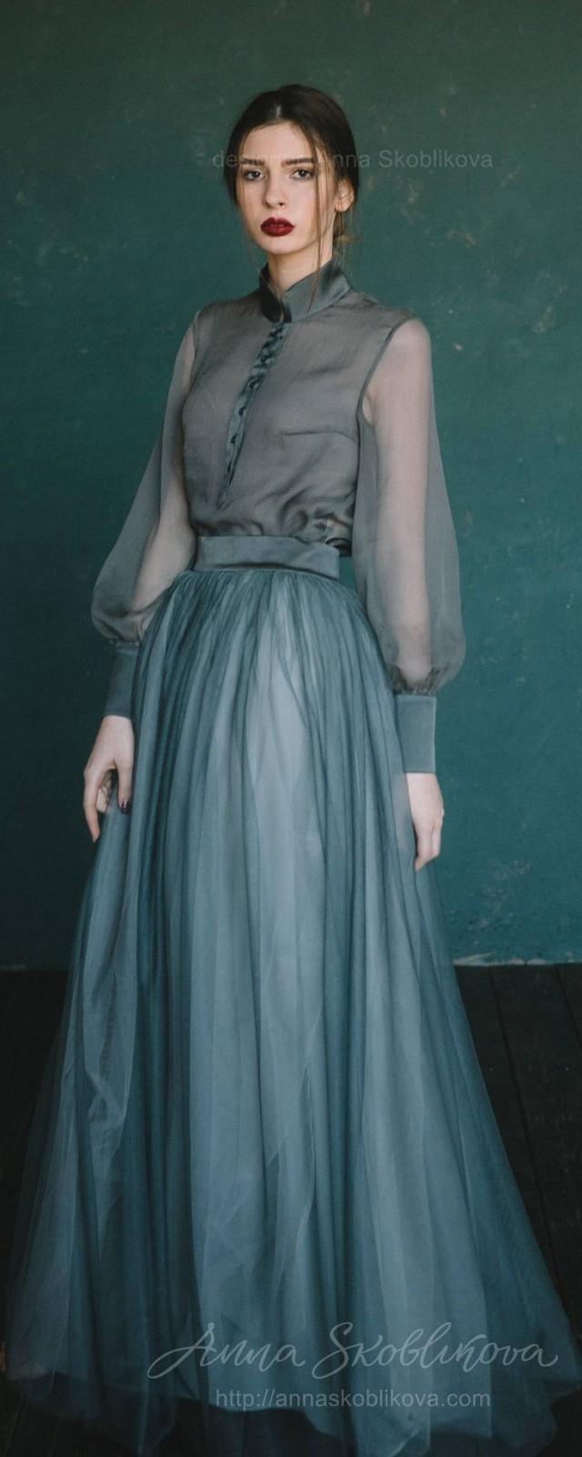 wedding photo - Green Wedding Dress, Colored Wedding Dress, Custom Wedding Dress, High Neck Wedding Dress, Simple Summer Wedding Dress - 0129 // 2017