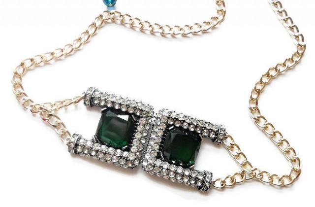 wedding photo - Bridal belt. Wedding belt. Bridesmaid accessories. Wedding accessories. Art deco belt. Chain belt. Rhinestone belt. - $23.50 EUR
