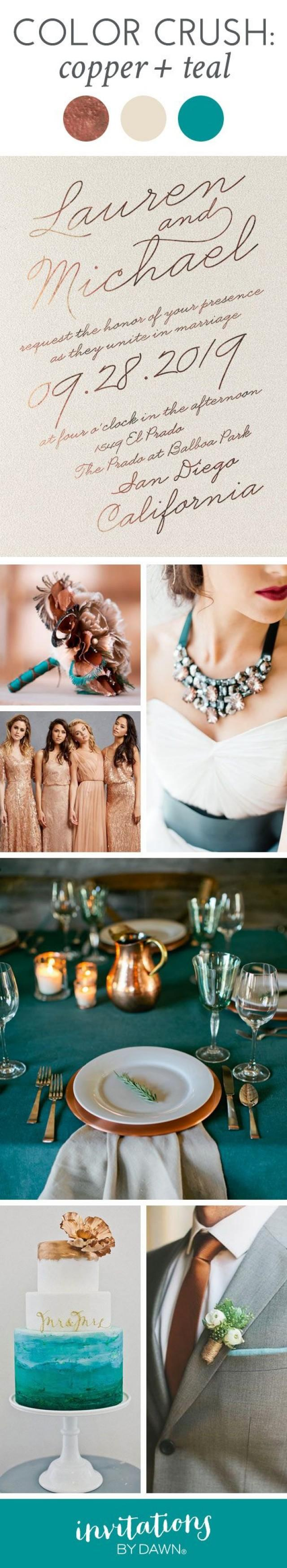 wedding photo - Color Crush: Copper And Teal
