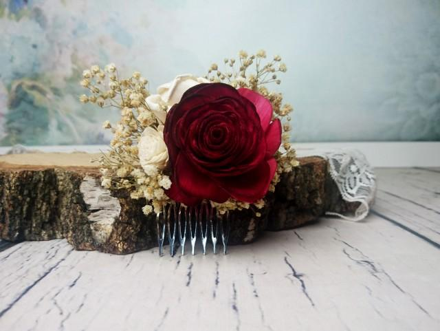 wedding photo - Deep red rose preserved gypsophila hair comb Alternative bride Burgundy rustic woodland Sola Flower maroon hairpiece bridal accessory gothic - $21.00 USD
