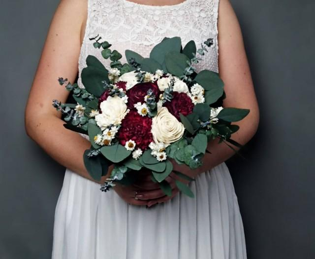 wedding photo - Burgundy wedding bouquet preserved eucalyptus baby blue dark wine white ivory dried flowers sola vintage style bridal bridesmaid elegant - $82.00 USD