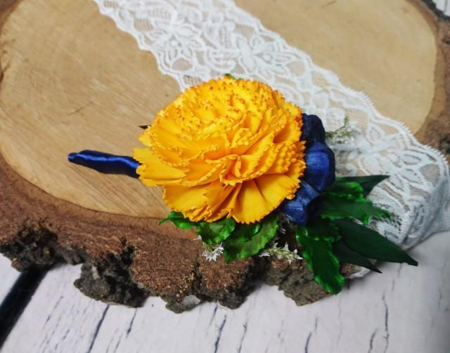 wedding photo - Groom's boutonniere Sunny yellow navy sola flowers preserved vibrant green greenery wedding Rustic satin ribbon Wedding Flowers carnation - $16.00 USD
