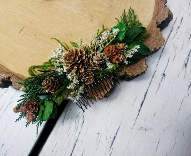 wedding photo - Winter wedding Conifer hair comb woodland pine cones natural thuja greenery bridal hairpiece green preserved real leafs organic eco style - $36.00 USD
