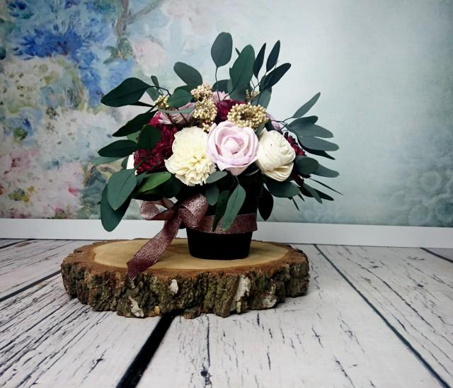 wedding photo - Wedding floral arrangement table centerpiece sola flowers stabilized eucalyptus rice flower fall burgundy lilac lavender ivory natural - $90.00 USD