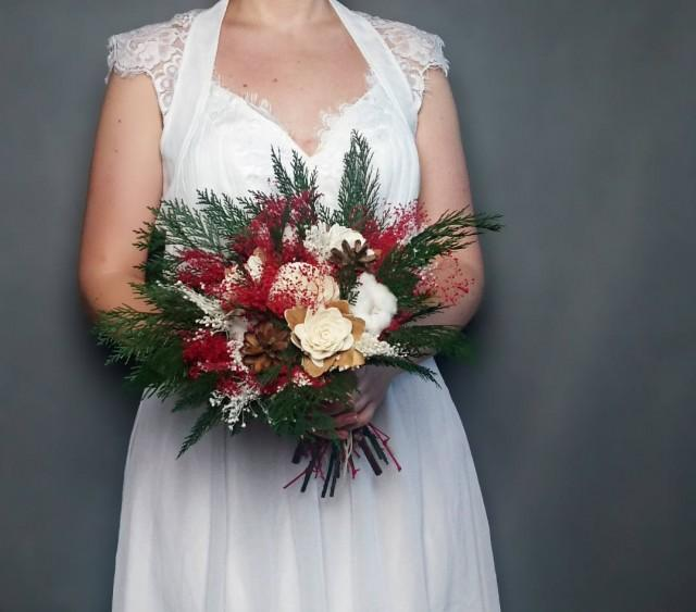 wedding photo - Winter wedding bouquet pine cones cotton bolls preserved thuja red green white ivory sola flowers gypsophila bridal natural - $85.00 USD