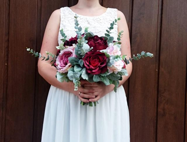 wedding photo - Vintage style Large wedding bouquet realistic silk flower marsala wine burgundy blush pink green dusty miller greenery rose peony hydrangea - $150.00 USD
