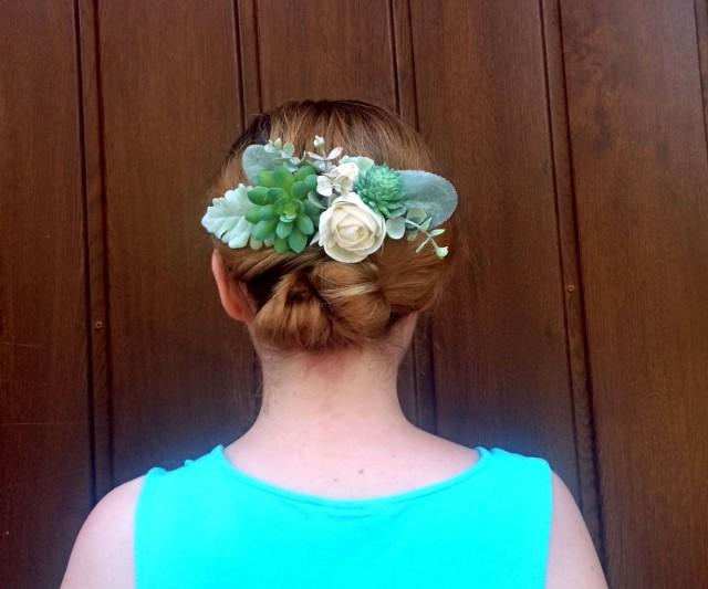 wedding photo - Rustic greenery wedding hair comb bridal hairpiece succulents sola flowers dusty miller ivory elegant simple classy burlap natural eco - $42.00 USD