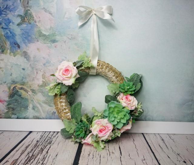 wedding photo - Wedding floral succulent greenery wreath centerpiece hanging backdrop arrangement country pink roses decor romantic home decor straw - $67.00 USD
