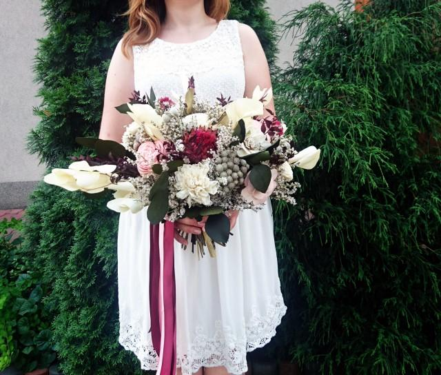 wedding photo - Burgundy wine pink blush boho wedding bouquet tropical exotic dried flowers eucalyptus sola wild vintage style long ribbons original bridal - $210.00 USD