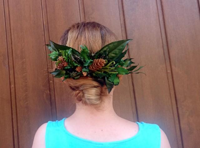 wedding photo - Woodland wedding natural hair comb greenery bridal hairpiece green preserved real leafs pine cones boho organic eco style accessory rustic - $55.00 USD