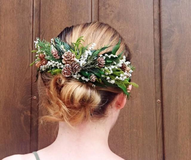 wedding photo - Conifer hair comb woodland wedding natural thuja greenery bridal hairpiece green preserved real leafs pine cones organic eco style winter - $55.00 USD