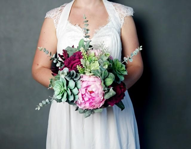wedding photo - Large wedding bouquet realistic silk flowers marsala wine burgundy pink green succulents dusty miller greenery roses peony eucalyptus boho - $135.00 USD