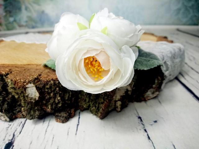 wedding photo - Bobby pin wedding bridal hair piece clip greenery silk flower peonies ranunculus white dusty miller simple flower clip flocked leafs elegant - $17.00 USD