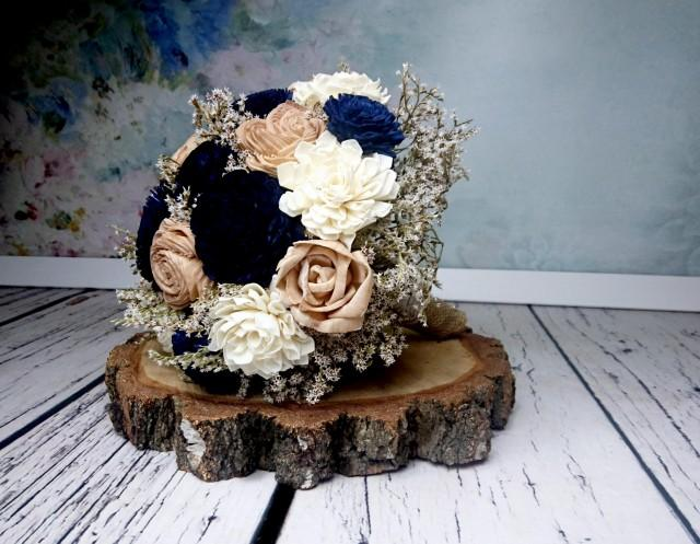 wedding photo - Dark navy caramel sola flowers wedding BOUQUET dried limonium burlap lace vintage elegant winter autumn bridal wooden flower alternative - $130.00 USD