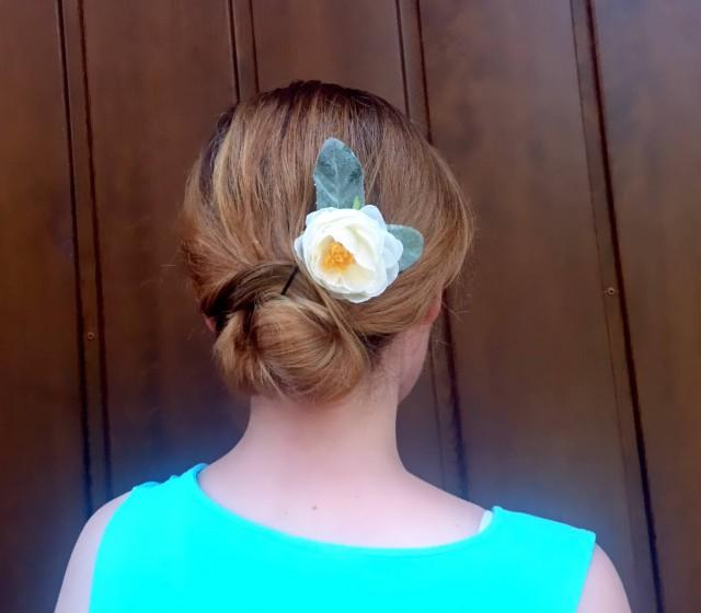 wedding photo - Wedding bridal hair piece clip greenery single silk flower peony ranunculus creme dusty miller simple clip flocked leafs elegant bobby pin - $12.00 USD