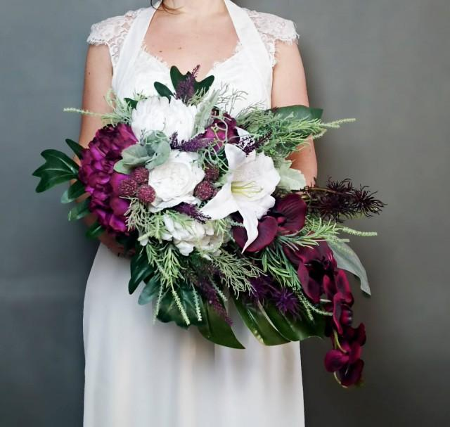 wedding photo - Plum purple white tropical flowers winter wedding bridal bouquet cascade greenery orchid lily rose monstera banana leaf grasses big original - $260.00 USD