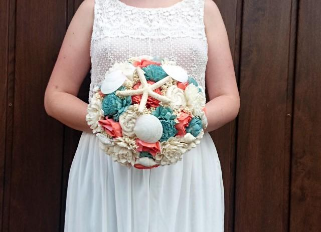 wedding photo - Large shell bouquet coral reef mint ivory rustic beach starfish summer wedding sola Flowers Burlap lace bridal - $165.00 USD