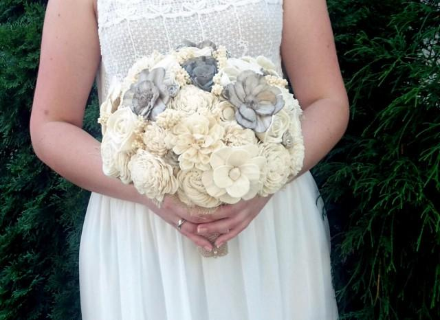 wedding photo - Large cream brown rustic wedding BOUQUET Ivory and warm grey Flowers sola roses Burlap Handle sorghum custom lace vintage elegant cottage - $140.00 USD