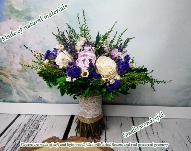 wedding photo - Preserved greenery dried lavender wedding bouquet sola flowers natural preserved ultra violet purple green bridal medium burlap lace pearls - $135.00 USD