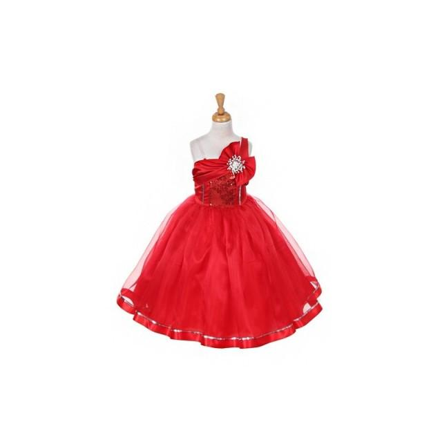 Red One Shoulder Sparkle Organza Dress Style: D2061 - Charming Wedding Party Dresses
