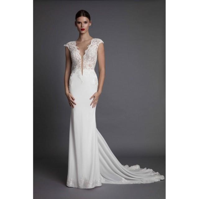 wedding photo - Muse by Berta Fall/Winter 2017 AISHA Silk Appliques Ivory Fit & Flare Illusion Cap Sleeves Elegant Chapel Train Wedding Gown - Crazy Sale Bridal Dresses