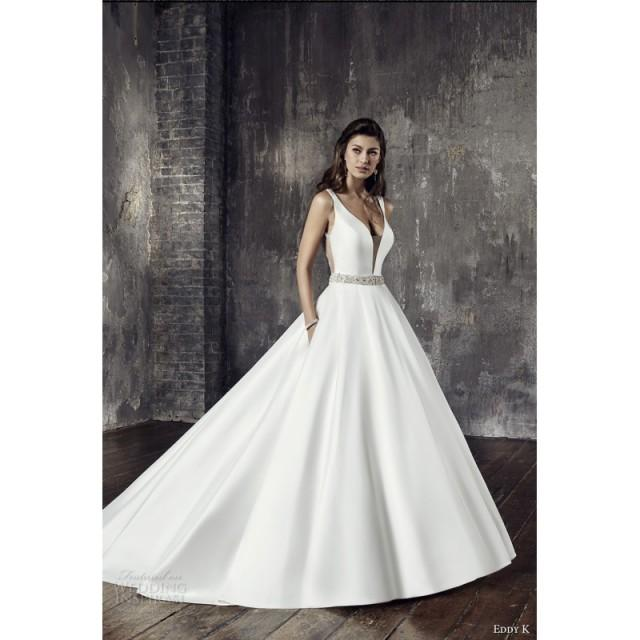 wedding photo - Eddy K. Couture Style CT189 2018 Simple Sleeveless Ball Gown Chapel Train Wedding Gown Simple Ball Gown Wedding Gown - Elegant Wedding Dresses