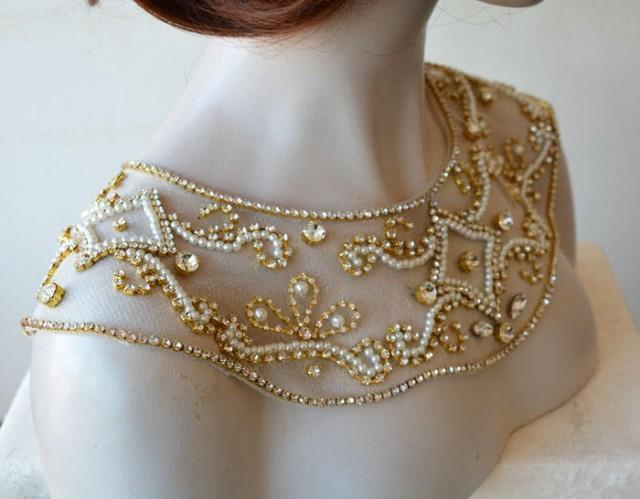 wedding photo - Gold Shoulder Necklace, Bridal Shoulder Necklace, Wedding Shoulder Jewelry, Shoulder Necklace, Shoulder Jewelry, Wedding Dress Shoulder - $197.00 USD