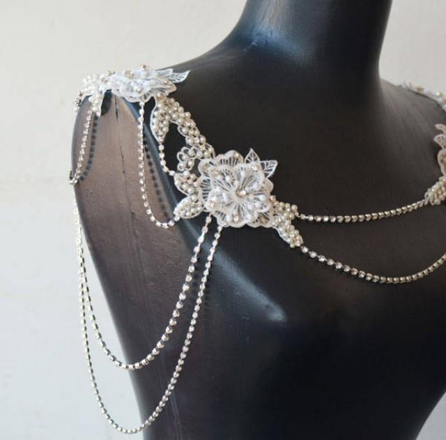 wedding photo - Bridal Shoulder Necklace Lace and Pearl, Necklace for Shoulder, Wedding Dress Shoulder, Wedding Dress Shoulder Accessories - $129.00 USD