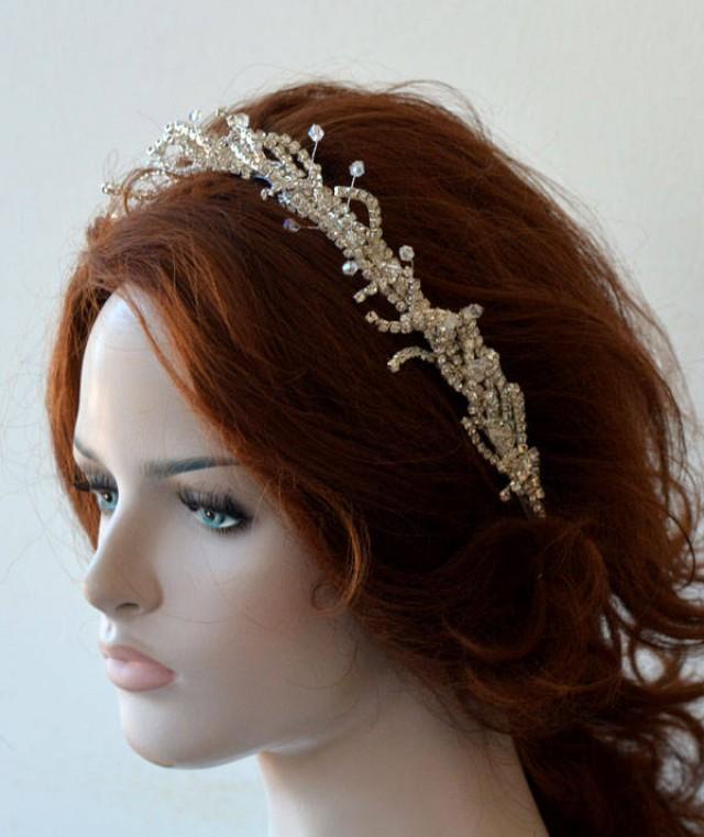 wedding photo - Wedding Headbands for Bride, Bridal Headbands Silver, Headpiece Wedding Silver Rhinestones, Hair Jewelry, Hair Accessory - $78.00 USD