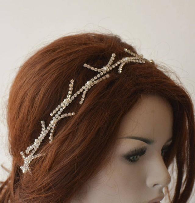 wedding photo - Bridal Headbands Silver, Wedding Headbands for Bride, Headpiece Wedding, Headpiece for Wedding, Hair Jewelry, Hair Accessory - $37.00 USD