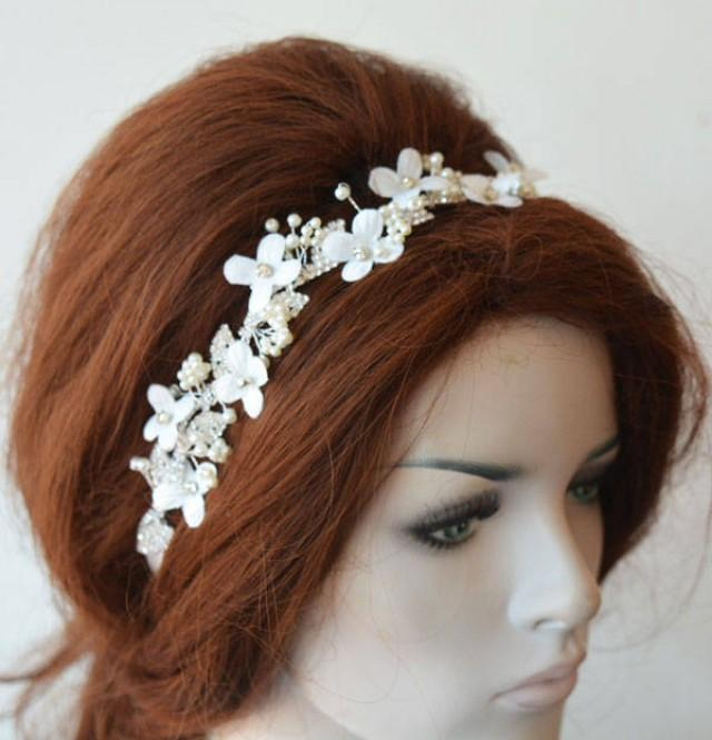 wedding photo - Bridal Headpiece leaf Floral, leaf Floral Headband Wedding, Headpiece for Wedding, Hair Jewelry, Hair Accessory - $57.00 USD