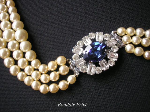 wedding photo - Vintage Pearl Choker With Montana Sapphire Rhinestone Clasp