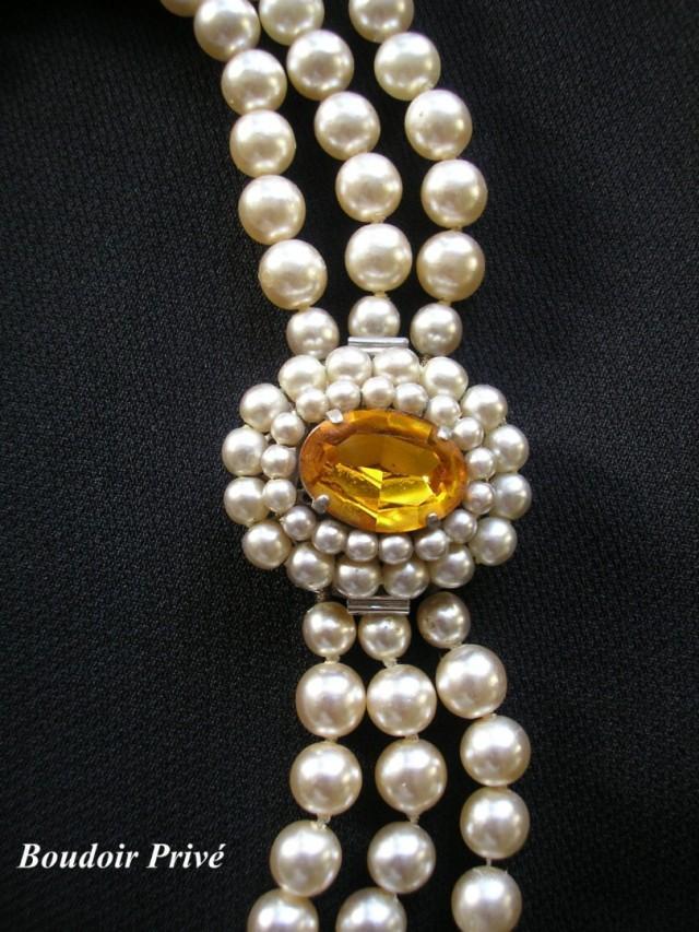 wedding photo - Pearl and Citrine Rhinestone Choker Necklace