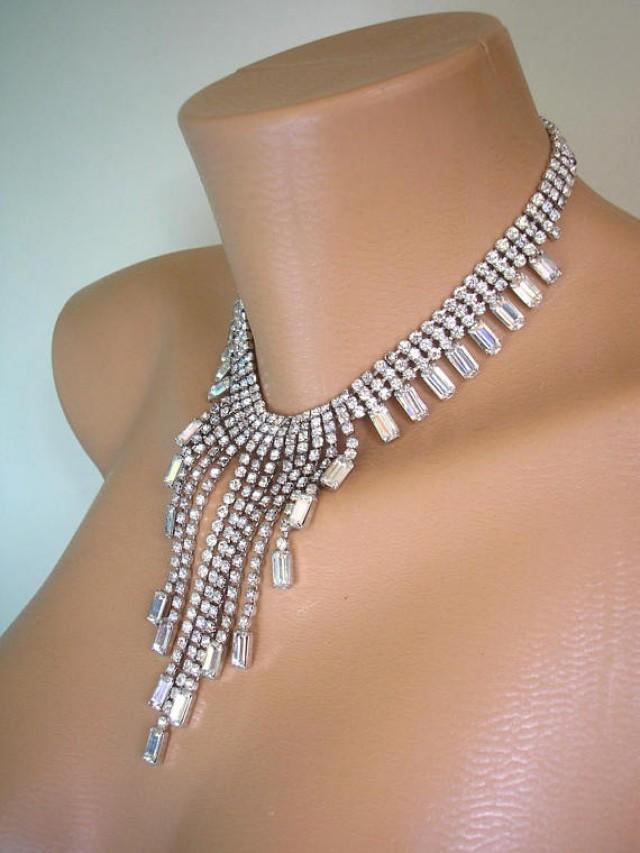 wedding photo - Crystal Bridal Necklace, Rhinestone Bib