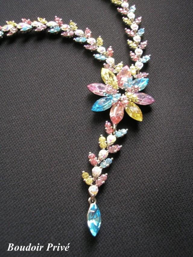 wedding photo - Rainbow Rhinestone Necklace, Gatsby Jewelry