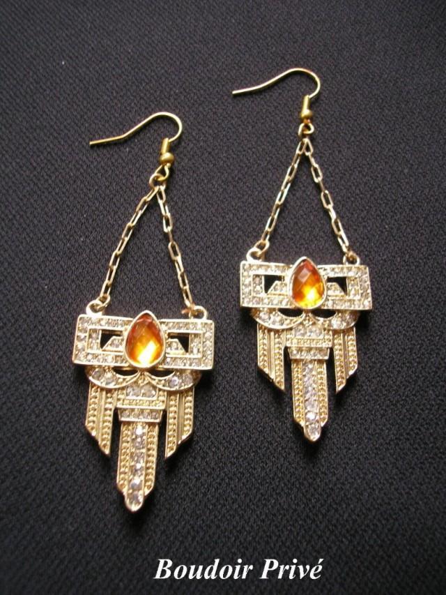 wedding photo - Orange Earrings