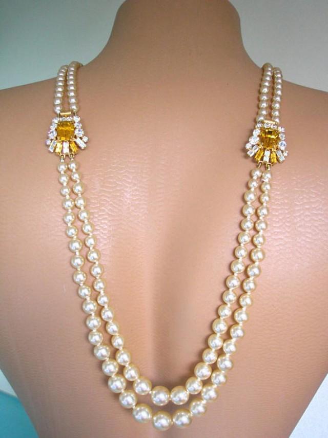 wedding photo - Citrine Pearl Backdrop Necklace Wedding