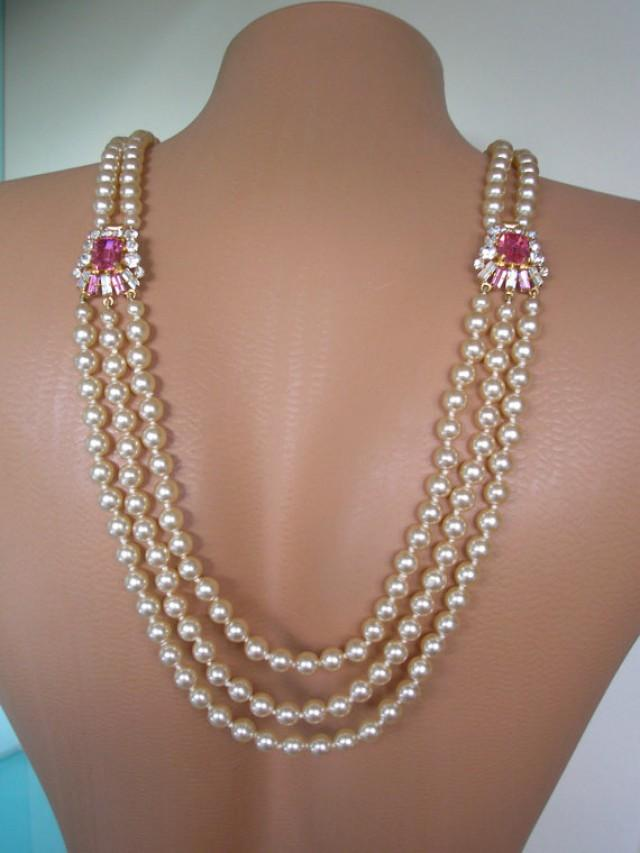 wedding photo - Pink Backdrop Necklace